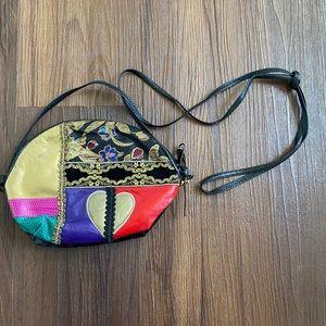 Vintage black gold multicolor leather bag purse